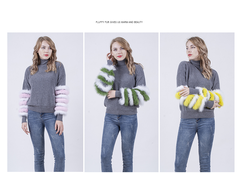 Fall winter comfortable fur clothes high elastic solid wool fur women pullover sweater