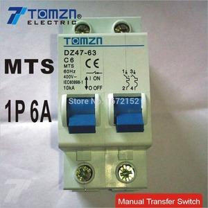 1P 6A MTS Manual transfer switch Circuit breaker MCB 50HZ/60HZ 400~