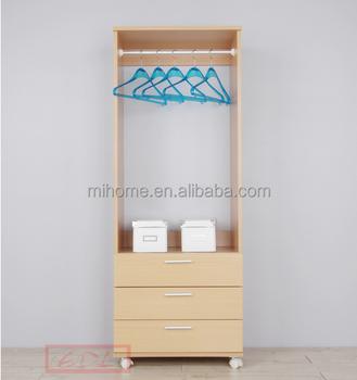 Modern design bedroom furniture melamine wooden wardrobe with 3 drawer buy - Revamper armoire melamine ...
