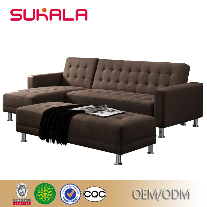 Sectional furniture factory design colorful couches brown linen fabric corner sofa