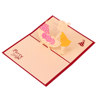 Promotion 3D Laser Cut Greeting Card Pop Up Birthday Cake Card