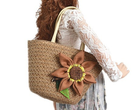 Knitted Straw beach bag Summer flower Bohemia fashion natural sea straw bag,women rattan handbag
