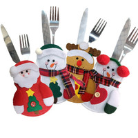 Shenni Hot Sale Christmas Decoration Suppliers 4 Designs Christmas Table Decoration Knife Fork Cover