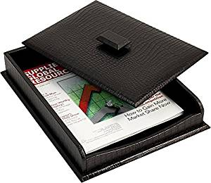 Black Croco Leather Letter Tray with Cover