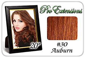 "Pro Extensions Body Wave 20"" x 39"" #30 Auburn 100% Human Hair Clip on Extensions"