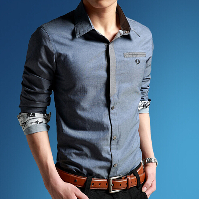 Itemnew Mens Simple Distressed Checkered Pointed Collar Button Up Denim Shirts Tops