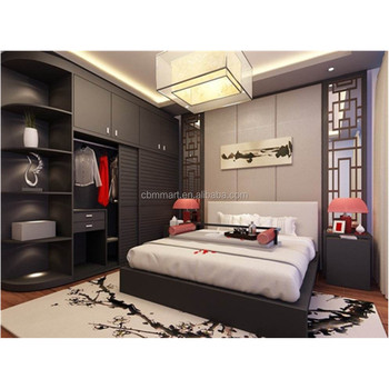 Modern Design Plywood Bedroom Set With Sliding Door Wardrobe