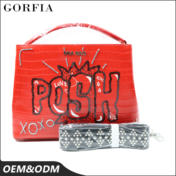 OEM Service fashion bag red color ladies design your own leather magazine handbag