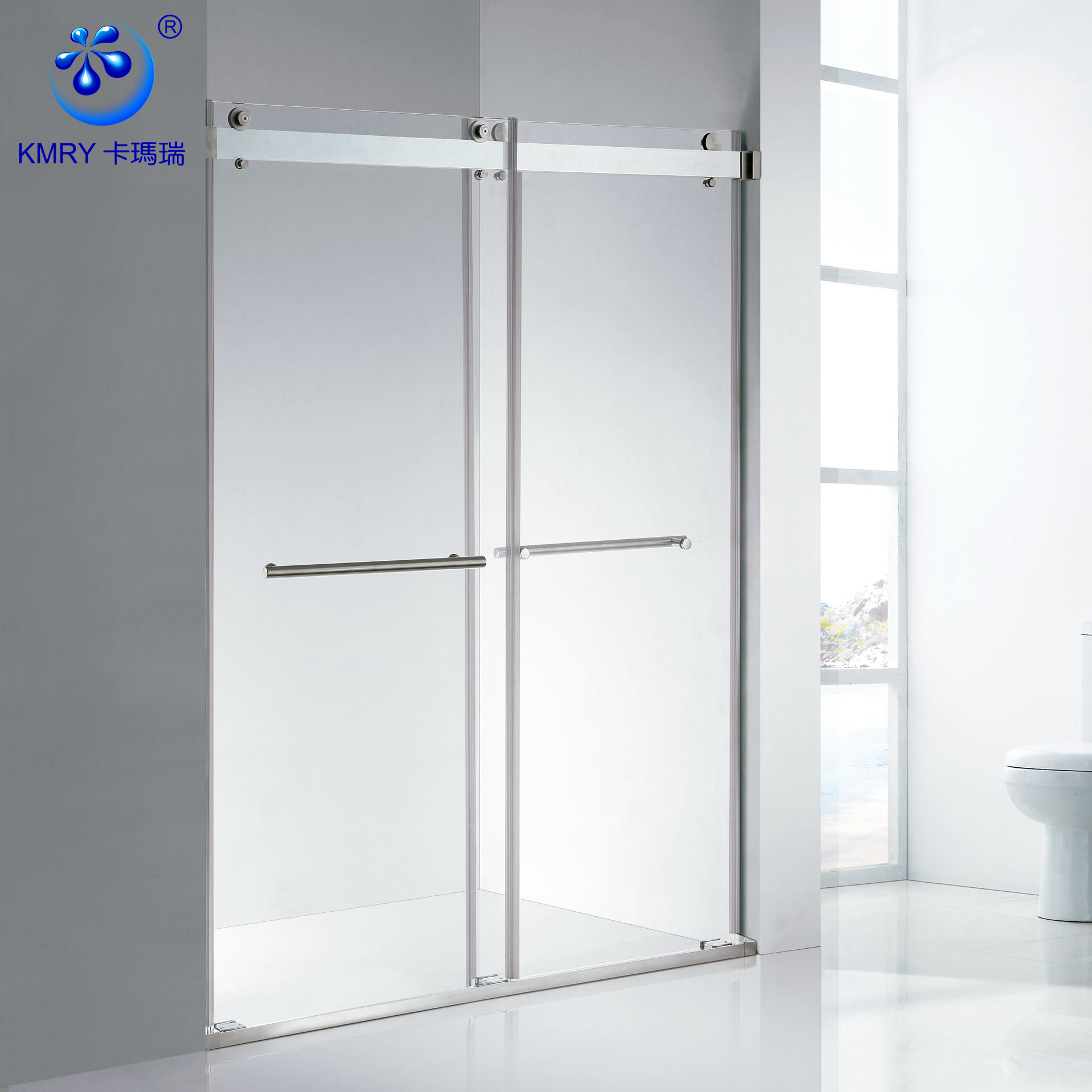 KD5230A Stainless Steel Frameless Bypass 2 Sliding Frosted Glass Shower Room