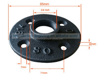 1/2 ,3/4 inch black cast iron pipe fittings floor flange
