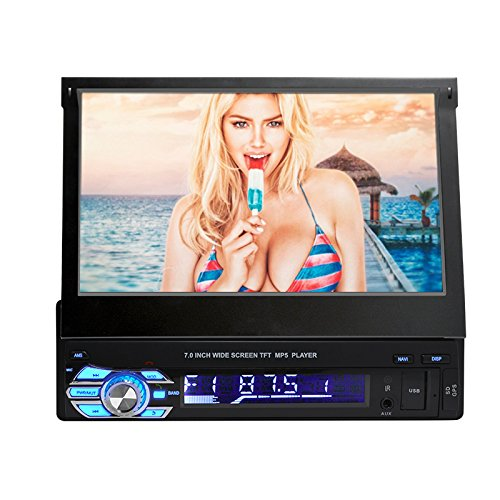Single Din In Dash 7-Inch HD LCD Flip Touchscreen Car Stereo - Audio Video Receiver System with Radio, Bluetooth, Camera and CD DVD Player Input, MP3, USB, SD Reader