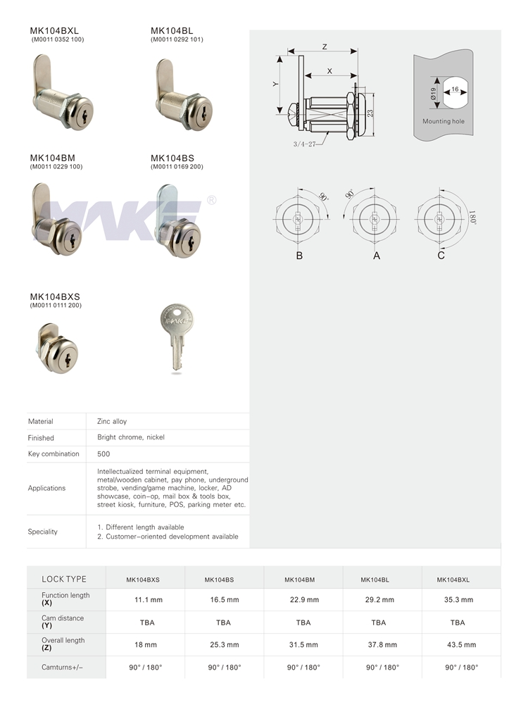 MK104BM High quality flat key furniture cam lock