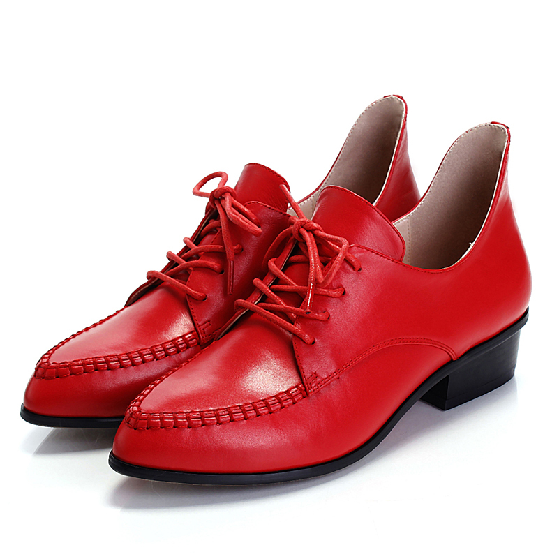 New 2015 Fashion Vintage Oxfords Shoes for Women Comfortable Low Heel British Style Women Oxfords Women Genuine Leather Shoes