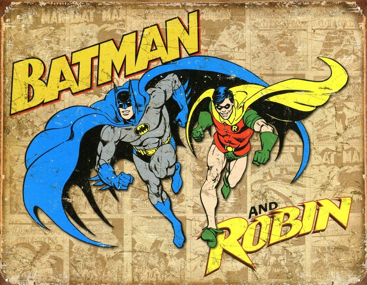 Batman and Robin Weathered Panels Tin Sign 13 x 16in
