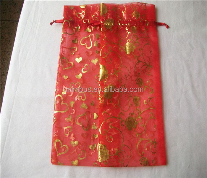 Customized Printed Organza Wine Bottle Wrapping Bag