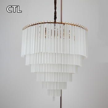 Hotel Modern Hanging Lamps Pendant Lights Contemporary White Frosted  Crystal Chandelier