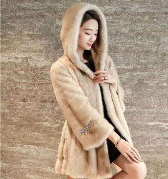 Plus Size Faux Fur Hooded Coat Mink,Fox ,Rabbit Black White Multicolor