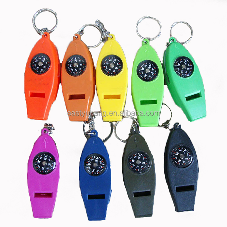 4 in 1 compass thermometer magnifying emergency whistle plastic multifunction best survival whistle with keychain