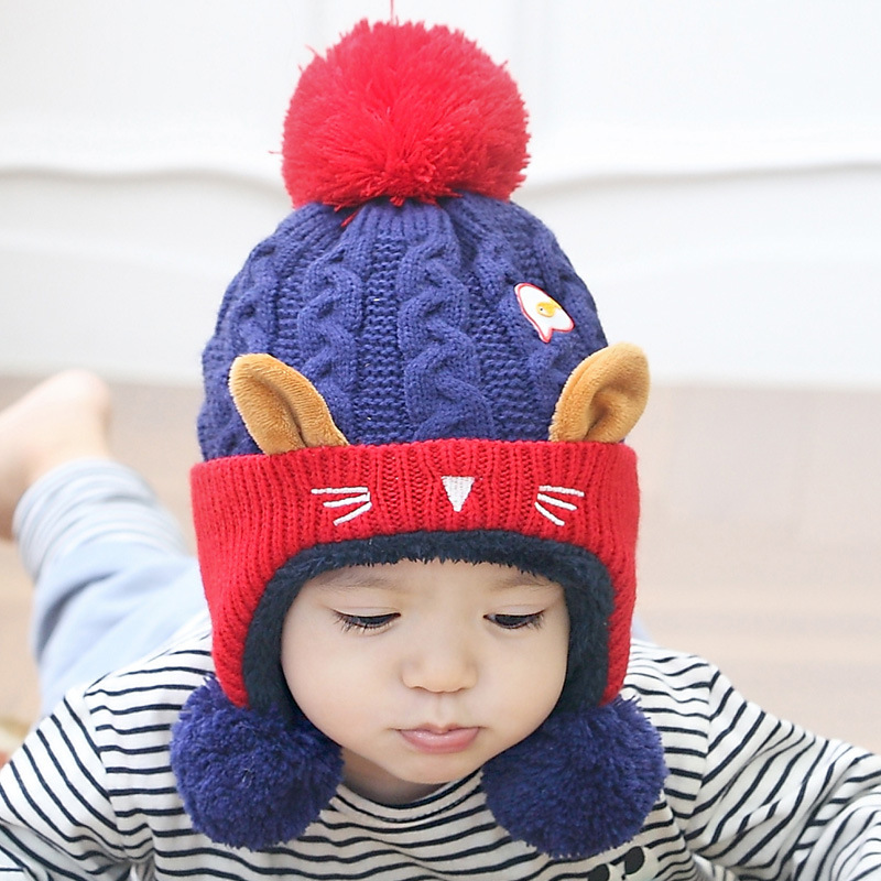 Straightforward Cute Baby Winter Hat Warm Child Beanie Cap Animal Cat Ear Kids Crochet Knitted Hat For Children Boys Girls Hot New Apparel Accessories