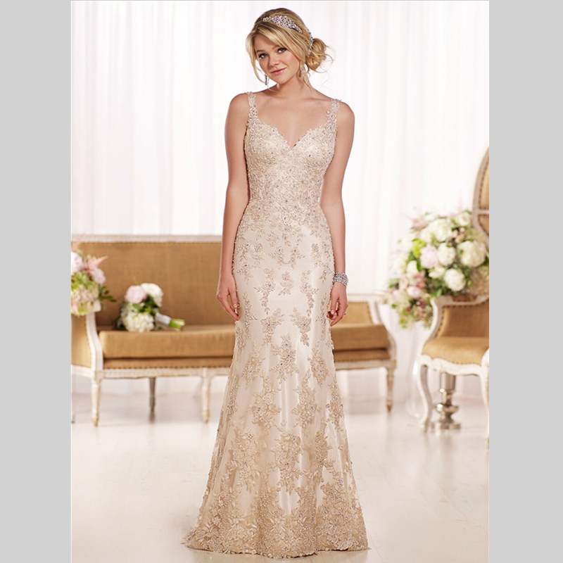 2015 New Collection Sheath Floor Length Vintage Lace