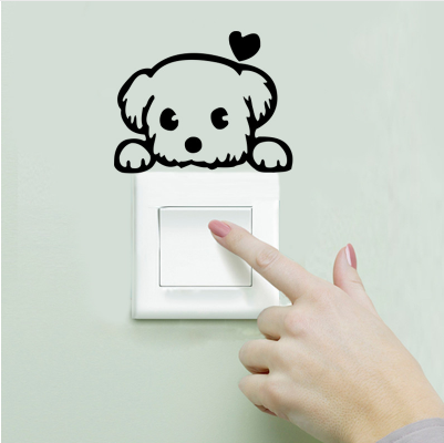 DIY Creative Black Love Cartoon Removable Switch Vinyl Pvc Decal Socket Wall Decoration Stickers