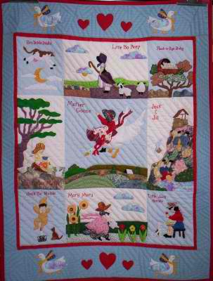 100% Handmade Quilted Baby Blanket - Nursery Rhimes