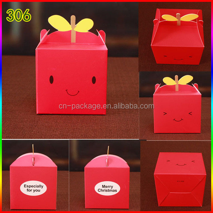 Christmas apple/candy colorful paper packing box with smile face printing