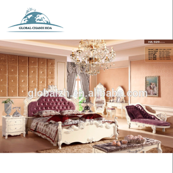 Best Price Luxury Fancy Bedroom Furniture Sets With Purple Headboard