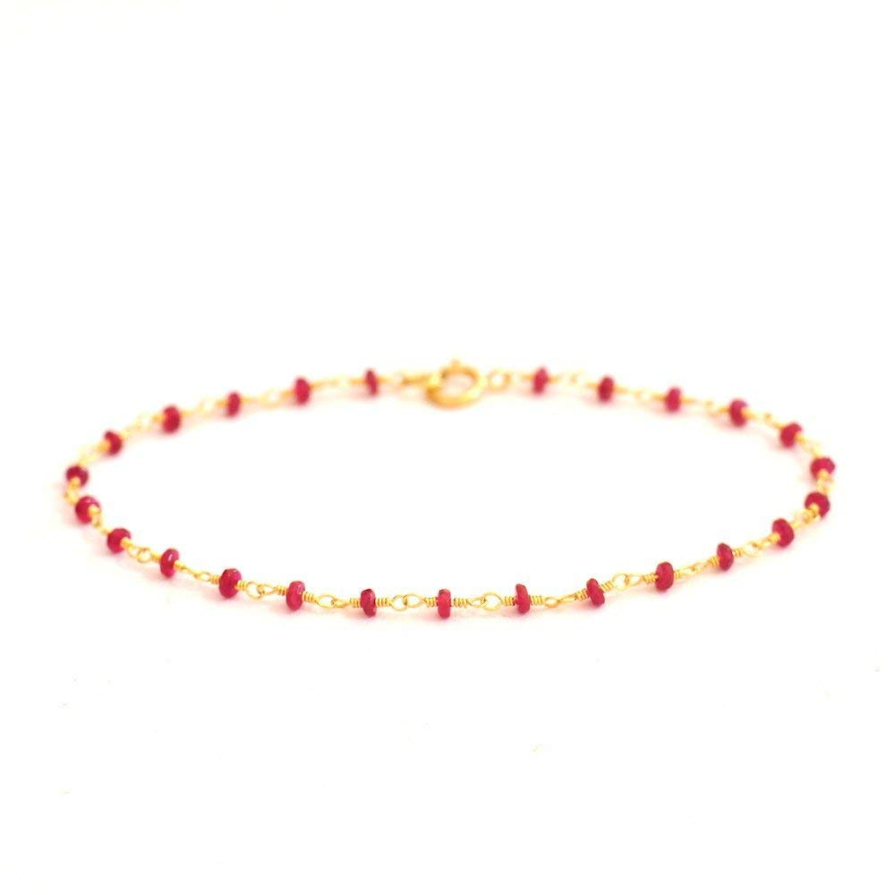 18K Gold. Ruby Bracelet in 18KYG , Natural Longido Ruby Delicate Gold Bracelet, July Birthstone Jewelry, Gift for Her, Holiday Gift Idea