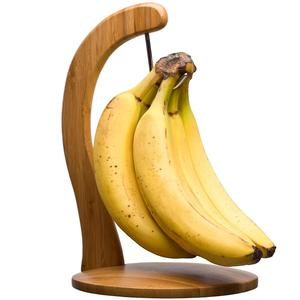 Bamboo Banana Wood Hanger Stand holder Keep your Bananas Fresh even longer with Metal Hook Creative Display Rack