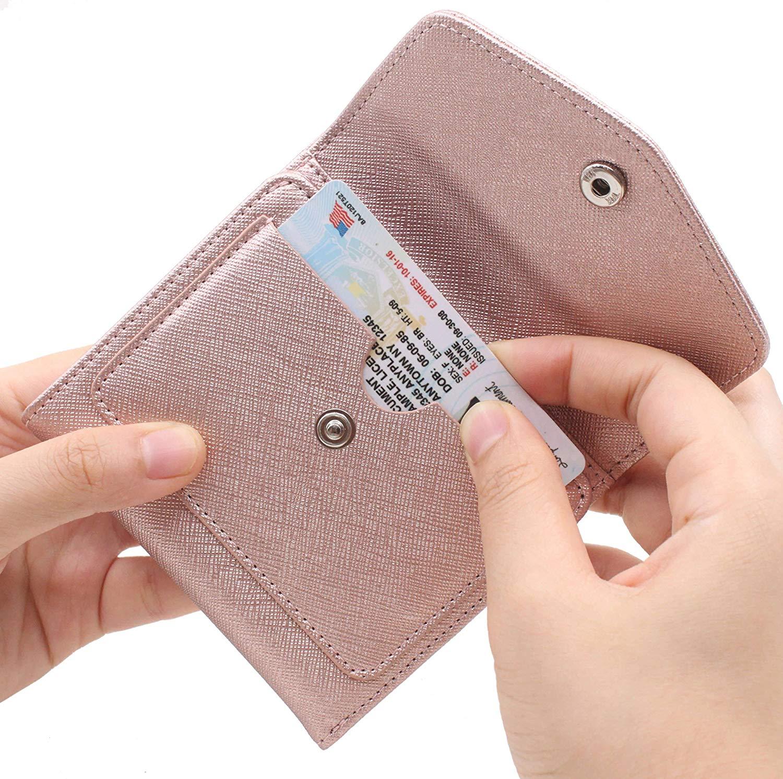 Women's RFID Blocking Small Credit Card Holder Wallets Leather Pocket Mini Purse