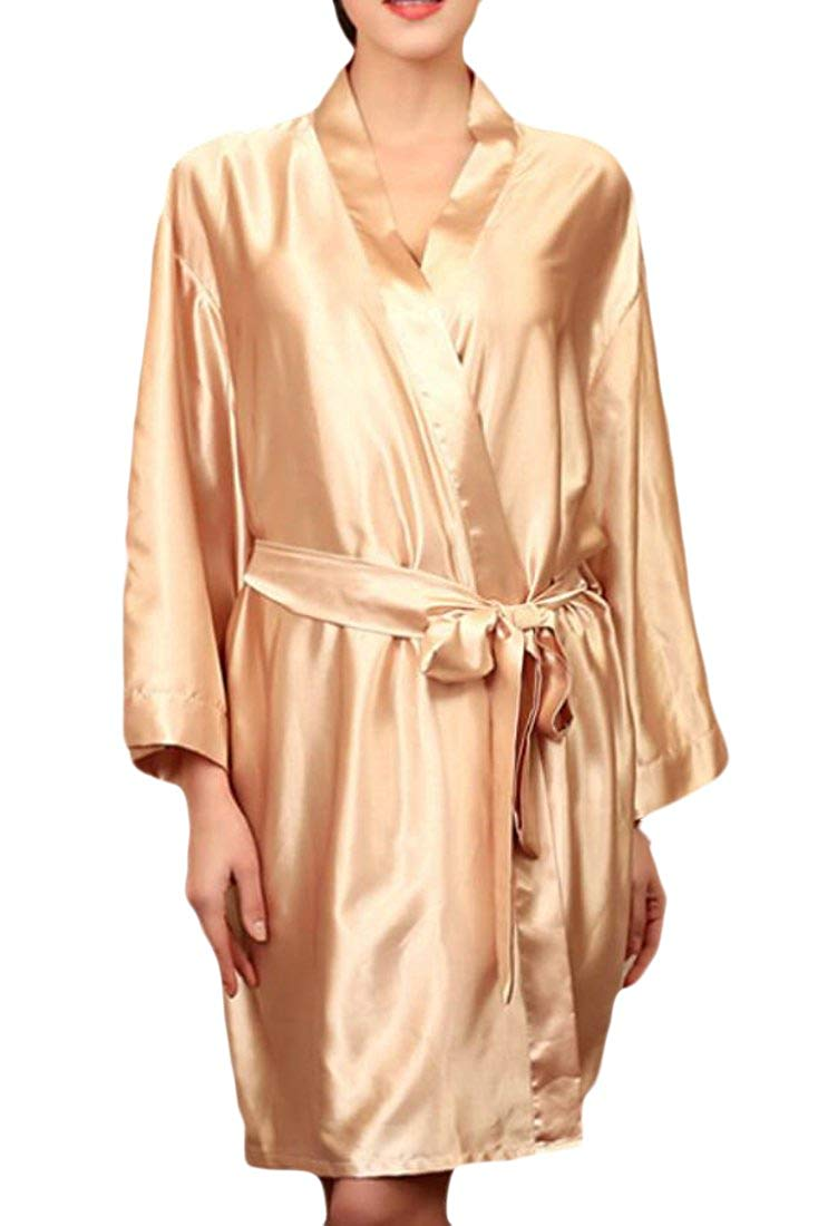 Fensajomon Womens Plus Size Sleepwear Solid Color Nightgowns Silk Satin Nightgowns