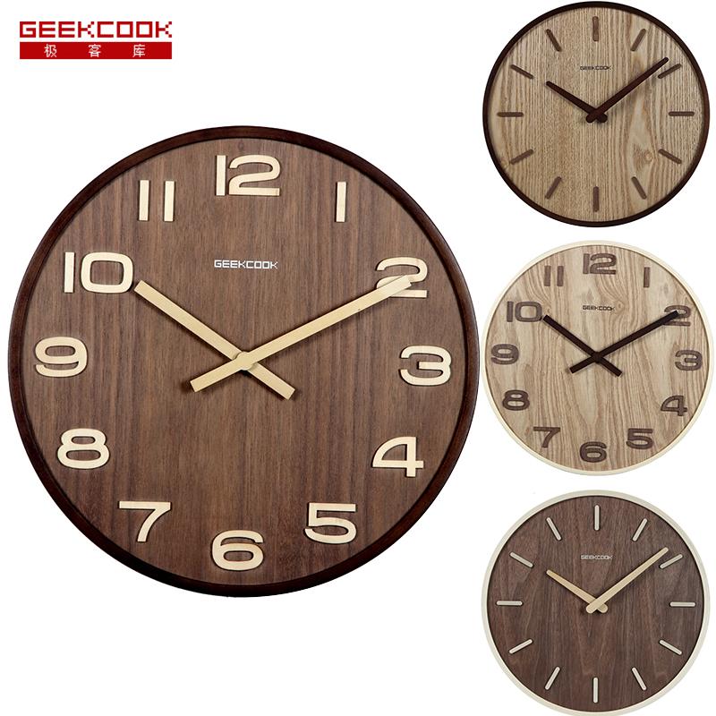 12 inch fashion Retro wooden farmhouse Mute sweep antique modern digital wood watch wall clock wooden home decoration reloj pare фото