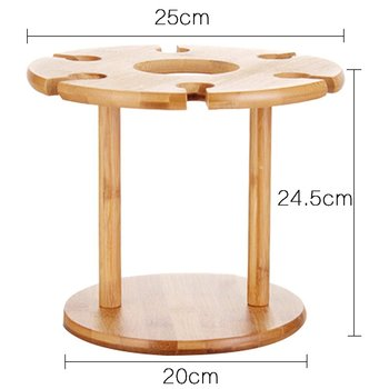 Bamboo Wine Glass Rack Which Could Hold 1 Wine Bottle And 6 Glasses