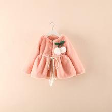 2016 new winter style girls wool coat long sleeve cotton children outwear zipper pure color girls