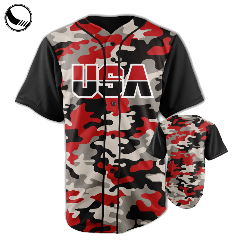 full dye sublimation camo button down baseball jerseys