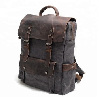 3b6c9d221 New Multifunction Fashion Men Backpack Vintage Canvas Backpack Leather School  Bag MC8064K-1