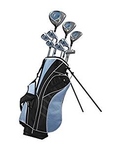 Precise AMG Ladies Womens Complete Right Handed Golf Clubs Set Includes Titanium Driver, S.S. Fairway, S.S. Hybrid, S.S. 6-PW Irons, Putter, Stand Bag, 3 H/C's Blue