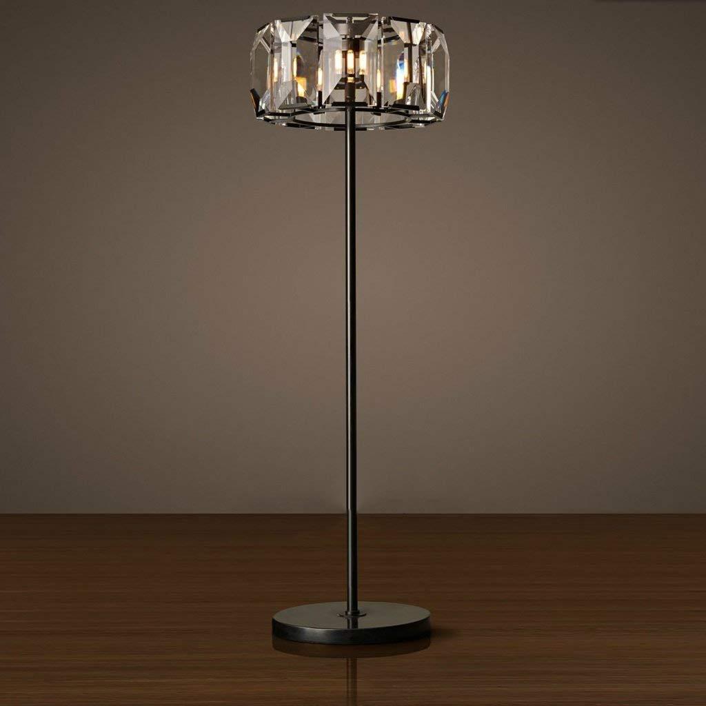 SED Floor Lamp-Led Creative Nordic American Style Rural Retro Iron Floor Lamp Living Room Bedroom Crystal Floor Lamp Eye Protection Vertical Table Lamp