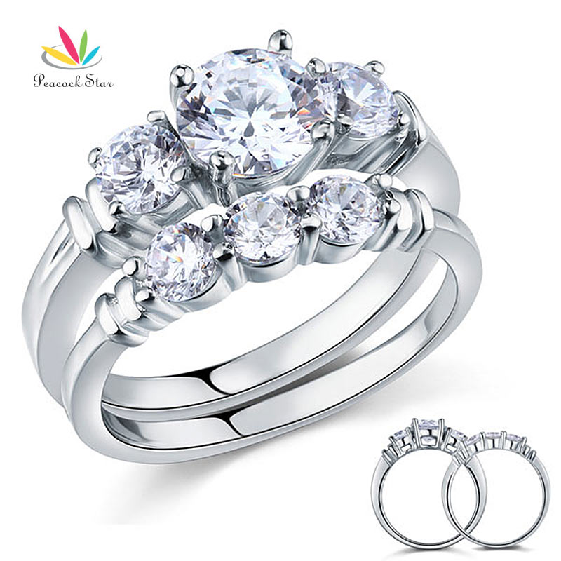 Wholesale Round Cut Created Diamond 2 Pc Solid Sterling
