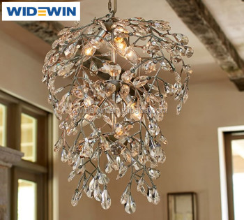 New Design K Crystal Leaves Chandelier With Metal Branches Hotel - Chandelier leaves crystals