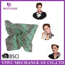 High Quality BSCI Passed Factory Supply Printing Chiffon Silk Small Neck Scarf