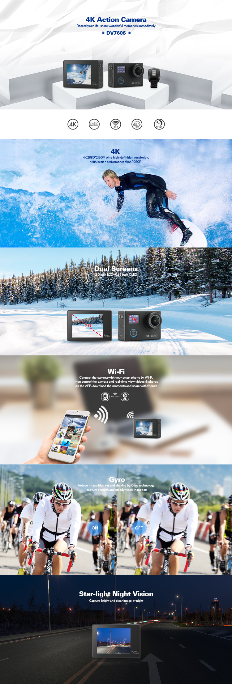 Wifi 4 k eylem kamera desteği gyro spor video kamera çift ekranlar kamera