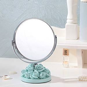 Halloween/Thanksgiving/Christmas/April Fools ' Day Gifts ,Holiday gifts, birthday Gifts Creative pastoral European lovely wedding roses resin HD desktop double-sided makeup mirror 5 inch, Blue