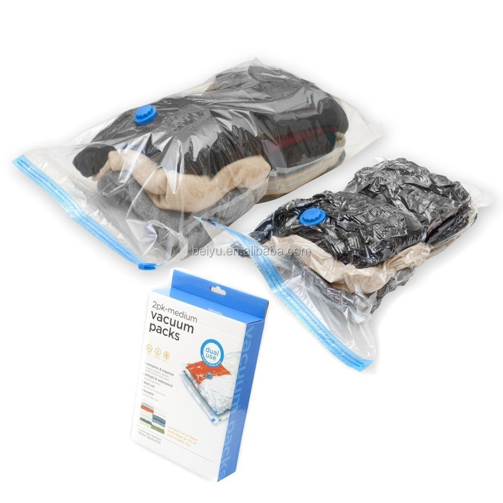 Small Size PET+PE or PA+PE Vacuum Storage Bags With Pump To Save Space Commpression Bags