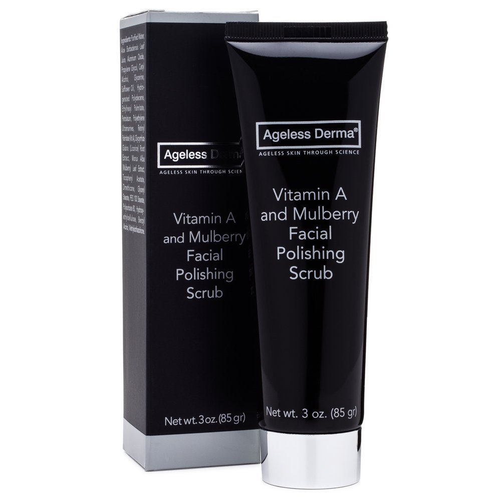 Ageless Derma Vitamin A & Mulberry Facial Scrub, Natural Face Exfoliator, Made In USA, Paraben Free, By Dr. Mostamand