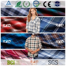 wholesale 100% cotton plaid twill fabric for shirts cloth dress