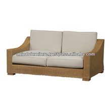 Natural Rattan 2 Seater Sofa with Upholstered