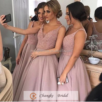 Luxury Bridesmaid Dresses Peach Satin Pockets Sequins Party