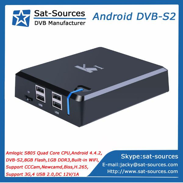 Android DVB S2 STB with Quad Core CPU 8GB Flash 1GB DDR3 Support CCCam Newcamd Biss